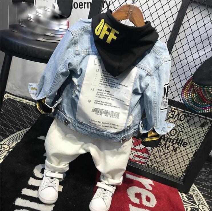 Denim jacket + Yellow Black hoodie + White Jeans Set