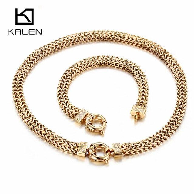 Kalen 2018 Nouvelle Mode Ensemble de Bijoux En Acier Inoxydable La Bulgarie  Or couleur 450mm Long