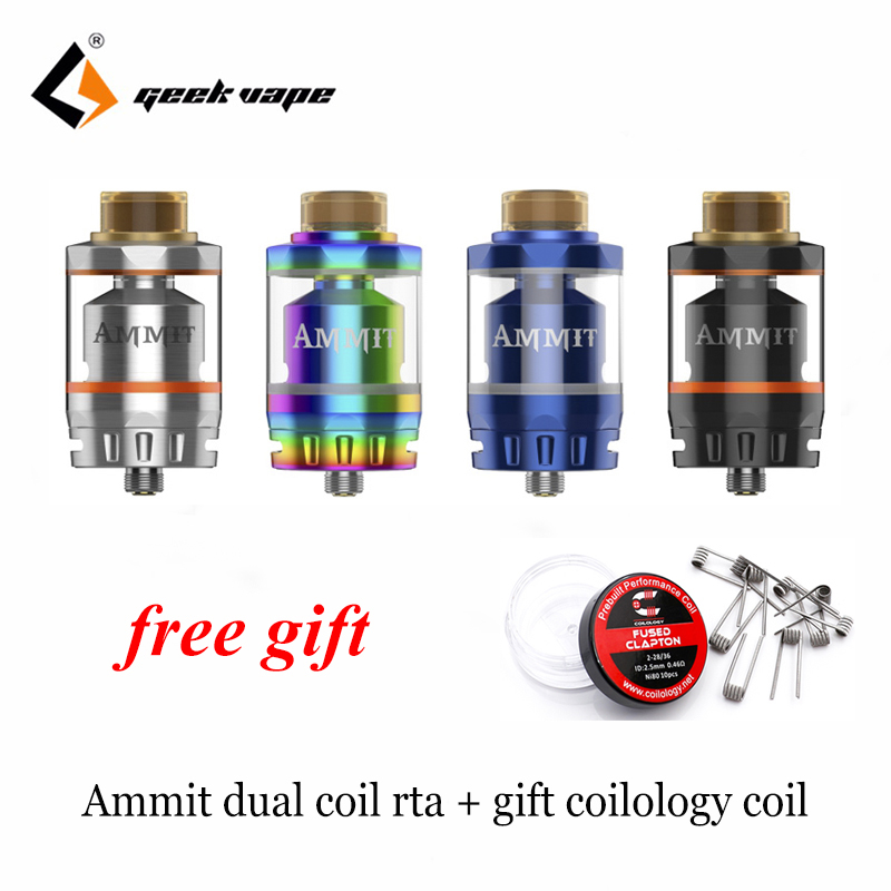 Free gift! Geekvape Ammit Dual Coil RTA Tank 3ml/6ml Capacity Support Both Dual and Single Coil Ammit tank For box mod