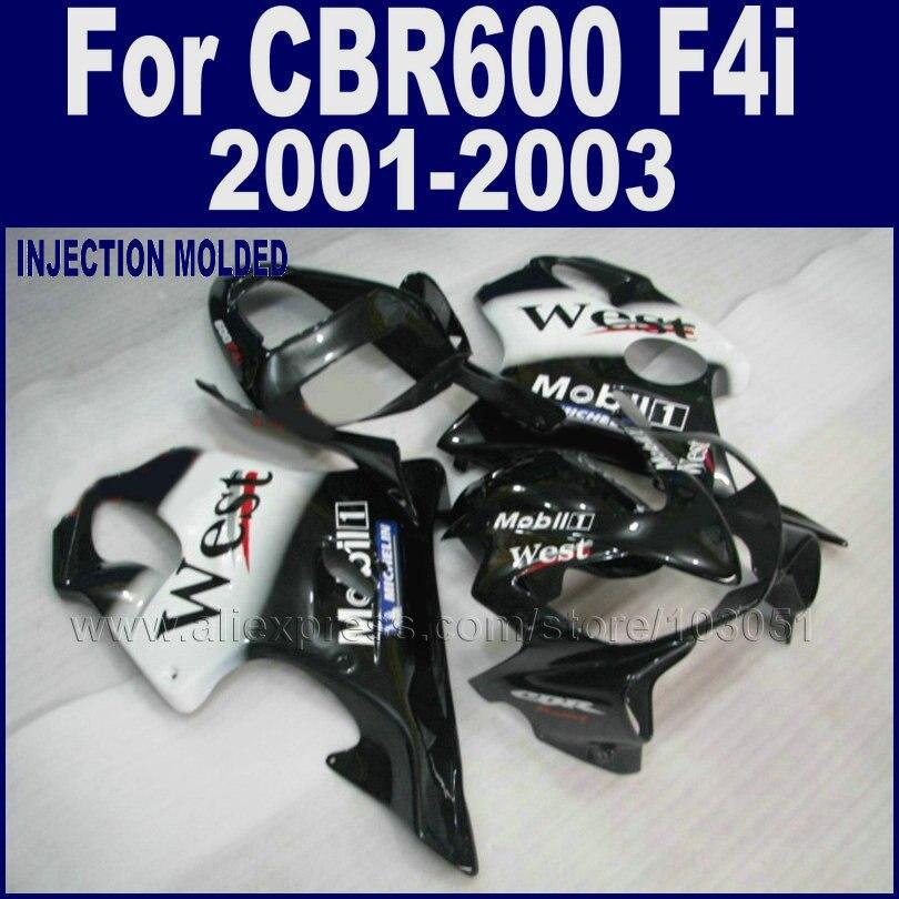 ABS plastics motorcycle fairings set for Honda CBR 600 F4i 01 02 03 cbr 600 f4i 2001 2002 2003black west body repair fairing kit injection molded fairing kit for honda cbr 600 f4i fairings 2001 2002 2003 blue movistar bodywork set cbr600 01 02 03 td25