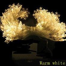 2 м 3 м 4 м 5 м 10 м 20 светодиодный Снежинка на батарейках питание Гирлянда для дома и улицы, герлянда, на год, вечерние Рождественский Декор