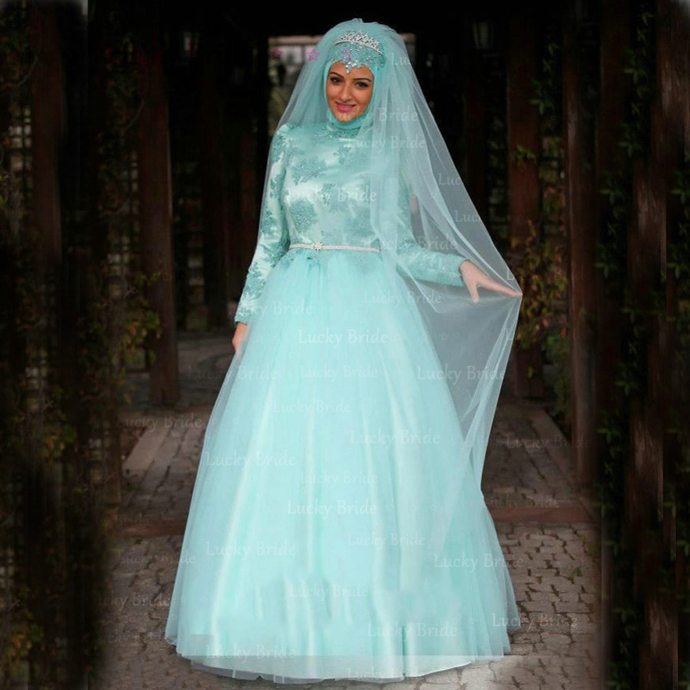 Turquoise lace muslim wedding dress 2017 with crystal belt a line turquoise lace muslim wedding dress 2017 with crystal belt a line long sleeve bridal gowns rception dresses high neck m3 in wedding dresses from weddings junglespirit Gallery