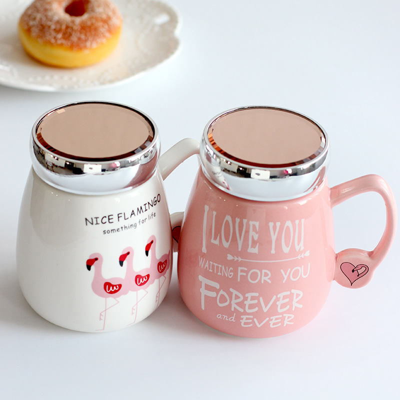 Us 3 51 29 Off Cute Pink Flamingo Coffee Milk Ceramic Mug With Mirror Lid Water Tea Cup Home Office Drinkware Creative Gifts In Mugs From