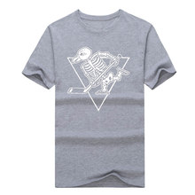 2017 New fashion Summer style Pittsburgh Penguins skull T-Shirts  Penguins Hockeyes Tees Shirt O-Neck Cotton Short Sleeve
