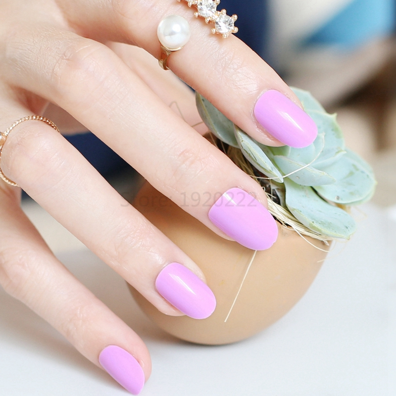 24 Fashion models selling high quality candy oval fake nails Nail ...