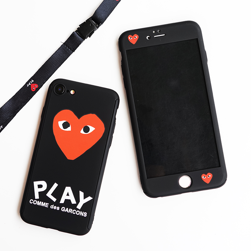 USA Japan popular 360 Full protection case for iphone 6 S 6S plus 7 7plus 8 8plus CDG Play Comme des Garcons hard pc cover