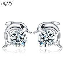 OQEPJ Trendy Shiny Zircon Dolphins Earrings 925 Sterling Silver Cute Romantic Animal  Elegant Women Jewelry Novel Gift