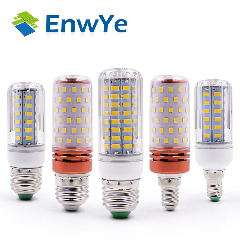 EnwYe E27 E14 LED Corn Lamp True Power 9W 12W SMD2835 220V 240V Corn Bulb Chandelier Candle LED Light For Home Decoration