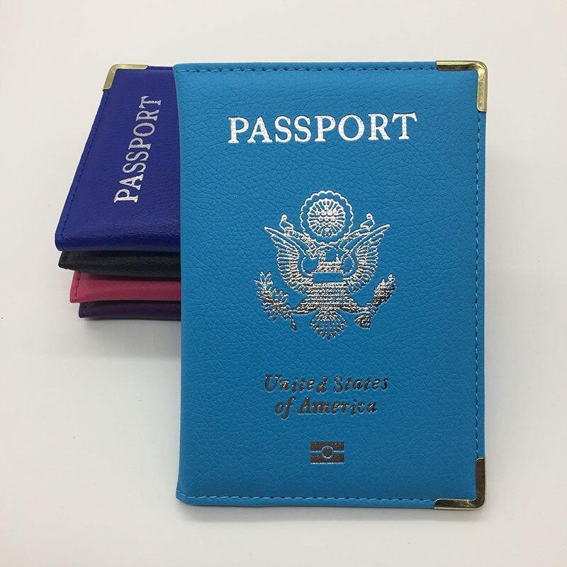 Metal Edge Leather Passport Cover Unisex USA Passport Holder Passport Case Women Airport <font><b>Ticket</b></font> Card Holder Passport Protective