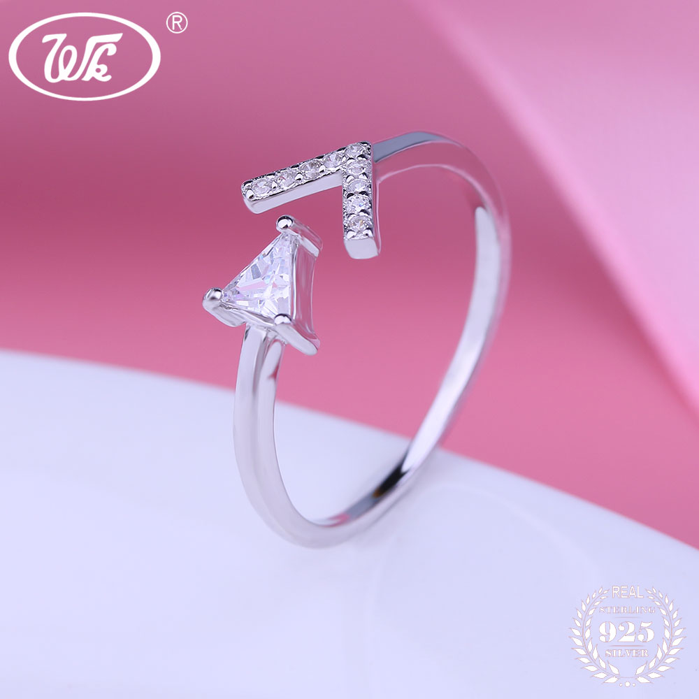 WK Smooth Band Arrow Triangle Cubic Zirconia Simple Ring Adjustable ...