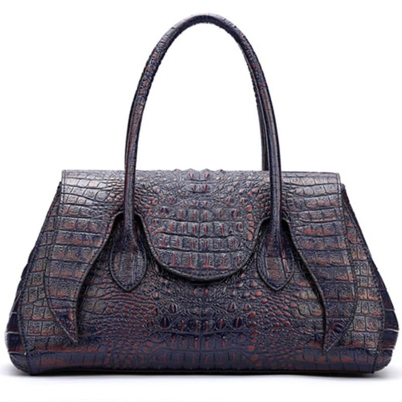 Vintage Crocodile véritable sacs à main En Cuir Femmes Trapèze sec un principal Alligator Motif d'embrayage lady Bandoulière Messenger Sacs bourse