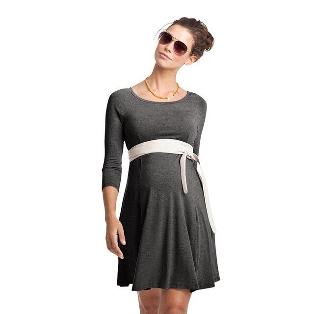 Vestido de maternidad ropa para mujeres embarazadas o Cuello tres ...