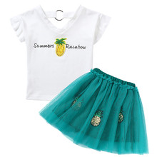 Girls Clothing Sets Summer Fashion Children Cotton Printed Pineapple T shirts Tops And Skirt Suit Princess Baby girl Clothes Set все цены