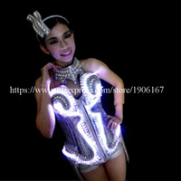 Ballroom Led Costume Dress Clothes For Dancing Stage Show Bar Props Luminous Sexy Lady Party Dress Free Shipping