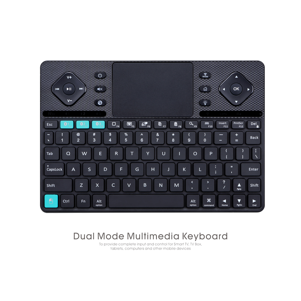 2016 New Design Rii RT503 MULTIMEDIA WIRELESS KEYBOARD with Bluetooth Dual-Mode Mini Keyboard for PC Laptop Desktop Computer 2 4g mini wireless keyboard touchpad numeric keyboard charging switch screen for desktop laptop table