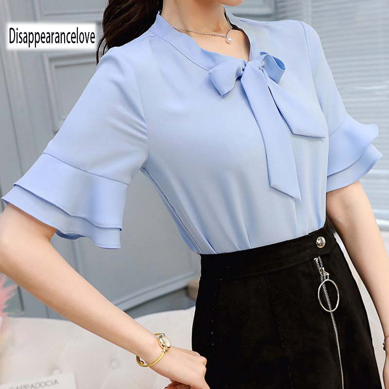 2018 New Women Blouses shirt flare Sleeve Chiffon shirt womens clothing casual V Collar  ...
