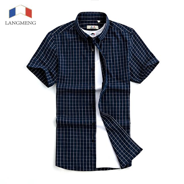 Langmeng 2016 nuevos hombres camisa 100% de algodón de verano de manga corta mens casual camisas de los hombres slim fit camisas de vestir camisa a cuadros homme