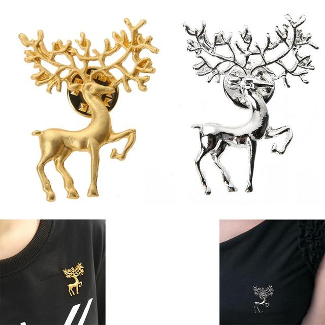 New Vintage Gold Silver Elk Pin Brooches