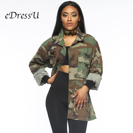 Women Military Camouflage Jacket Hot Green Fatigues Long Coat  Loose Casual Daily Army Battle Jungle Garment ME Q045Jackets   -