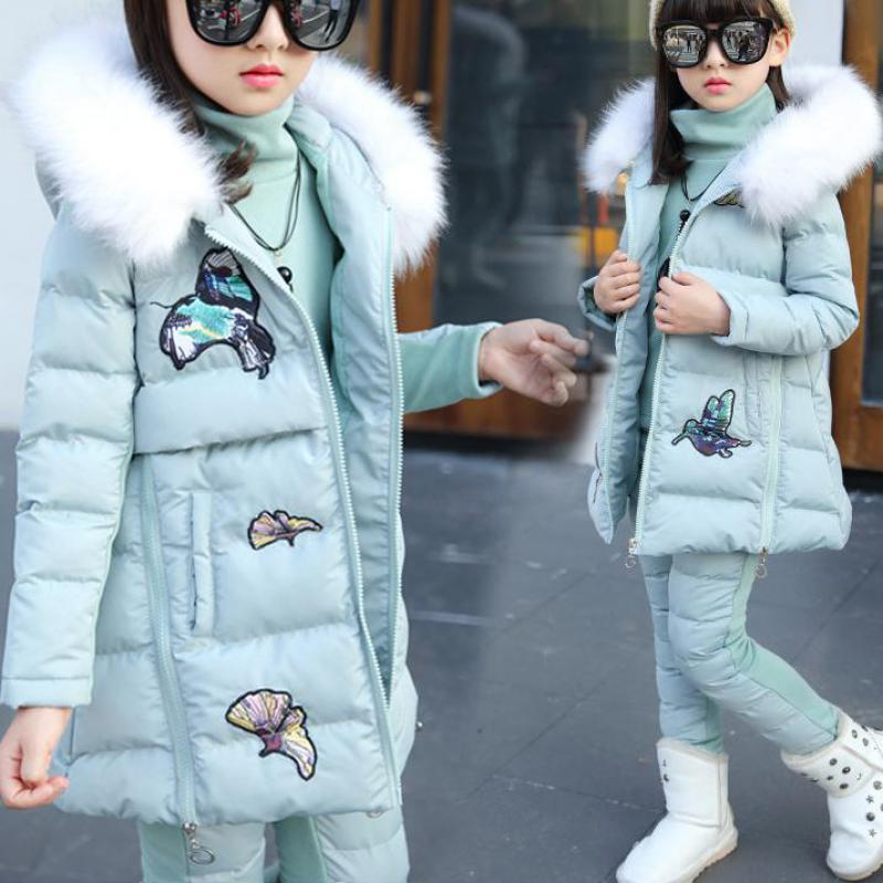 Winter Children Outfits Tracksuit Girls Embroidery Clothing Kids Hoodies + Coat + Pants 3 Pcs Sport Suit Fashion Clothing Sets
