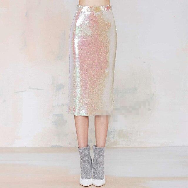 f2e4d7ab0e 2015 nueva falda de lentejuelas de moda de mujer rosa lentejuelas alta  cintura elástica delgada cadera