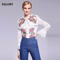 New 2018 Spring Lace Blouse Women Cute Cat Floral Embroidery Flare Sleeve Lace Tops Shirts Plus Size XXL White Blouses Lace