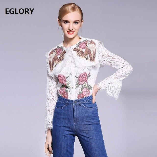 Nouveau 2018 printemps dentelle Blouse femmes mignon chat Floral broderie Flare manches couverture en dentelle chemises de grande taille XXL blanc Blouses dentelle