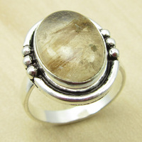 Silver Overlay GOLDEN RUTILE Quartzs Size US 6 5 Ring TRIBAL Jewelry NEW India Jewelry