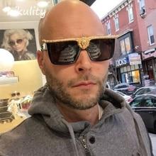 8e03f50e58d96 hikulity Metal Lion Designer Sunglasses Luxury Brand 2018 Rectangle Flat  Top Men