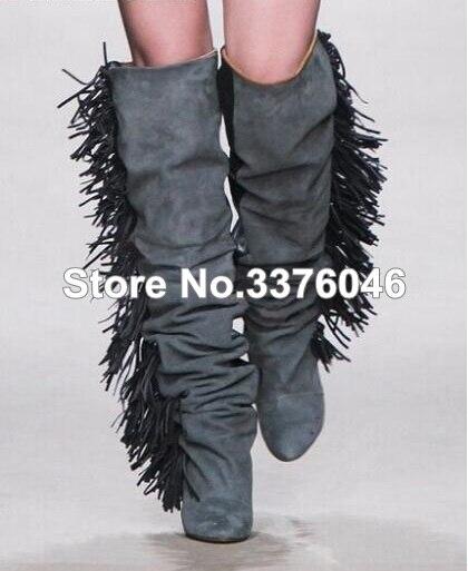 Style européen en cuir blanc talon compensé bottes Chic gland genou haute chevalier bottes nouvelle marque de mode femmes moto gland bottes