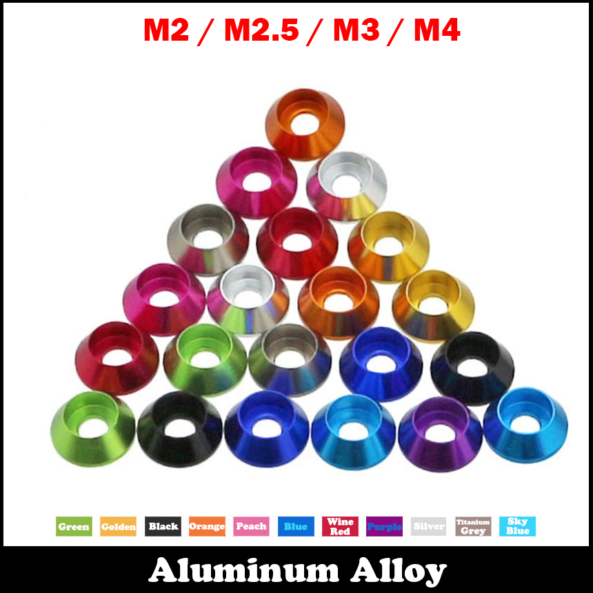 M2 M2.5 M3 M4 Purple Golden Black Silver Cup Head Cone Taper Gasket Anodized Aluminum Alloy DIY Shim Car Model Washer cute tiger shaped aluminum alloy cake pudding jelly cup mould golden