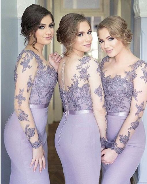 Elegant Long Sleeves Floor Length Lavender Mermaid Bridesmaid Dress Lace Lique Plus Size Wedding