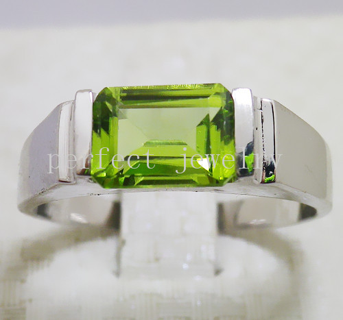 Peridot ring Men ring Free shipping Natural real peridot 925