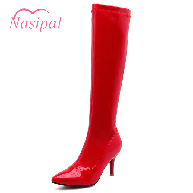 Lasyarrow Women s Knee High Stiletto Boots Sexy Women Boots Solid Red Black  Patent Leather High Heels Knight Boots Lady Footwear 33c120b002ad