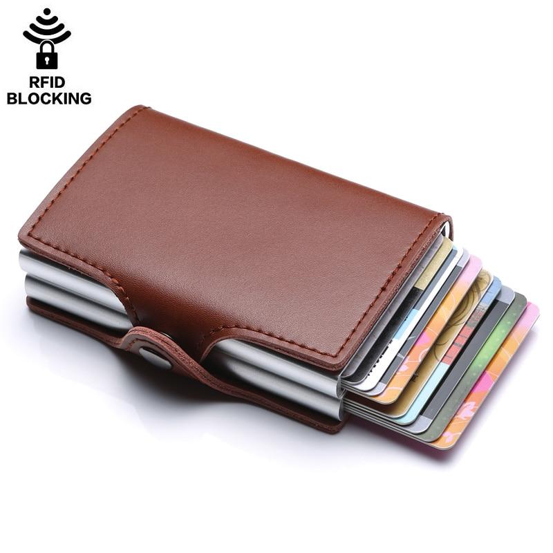 Porte-carte de crédit en métal de haute qualité automatique pop up portefeuille en aluminium antivol Rfid bloquant le porte-monnaie en cuir porte-monnaie - 3