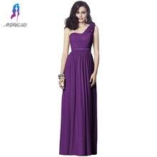 Long Purple Chiffion Bridesmaid Dresses Flowers One Shoulder Zipper Back Women Maxi Dress For Weddings