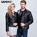 Мода Совпадающие Пары Пальто Натуральной Кожи Одежда Модная натуральная кожа любителей верхняя одежда пальто черного мотоцикла