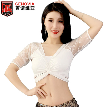 Belly Dance Top New 2019 Spring Summer Short-sleeved Sexy Lace Slimming Training Dress for Girls