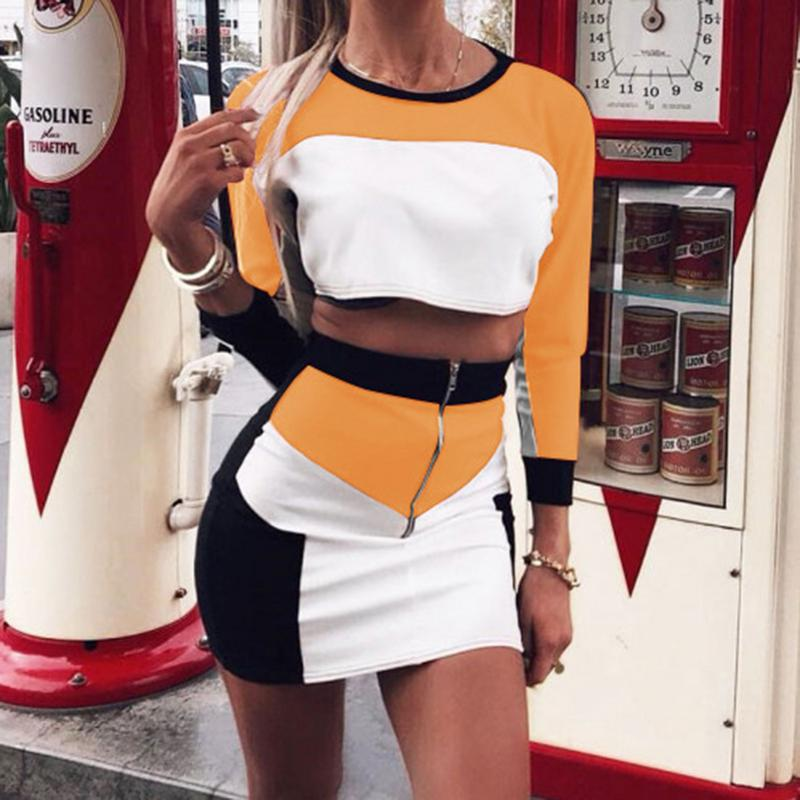 Women's Stitching Color Casual Sport Style Suit Mini Skirt Patchwork Long Sleeve Short Top Sexy Feminino Casual Outwear Party