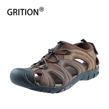 GRITION Men Shoes Summer Lightweight Close Toe Flat Beach Sandals Leather Quick-drying Trekking Casual Shoes Outdoor Big Size 46