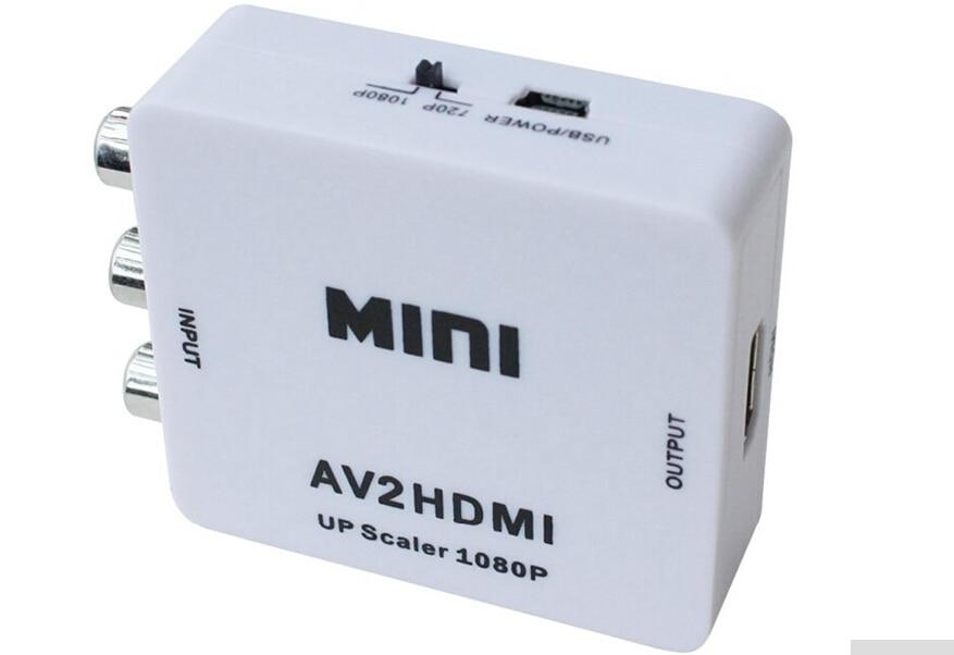 RCA a AV HDMI a HDMI 1080 p AV2HDMI Mini AV a HDMI convertidor de señal para TV VHS Video DVD registros Chipsets muestra AV2HDMI