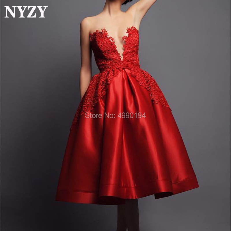 NYZY C127 Ball Gown Open Bust Red Satin Robe   Cocktail     Dress   Party Graduation Evening Elegant vestido coctel 2019