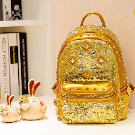 Online 2017 Hot Korean Lady Fashion All Match Sequined Bag Nike Vapor Max Air Backpack Gold