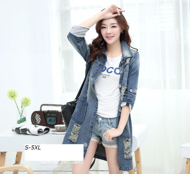 Куртки Новая мода Большой Размеры Для женщин средней длины Джинсы для женщин отверстие верхней Пальто для будущих мам отложным воротником Подпушка воротник в стиле пэчворк размеры S и M 4XL 5XL Куртки-297353