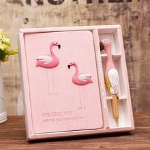 Flamingo journal portable rose papeterie ensemble relié cahier résine stylo frais mignon cahiers et journaux pour les filles