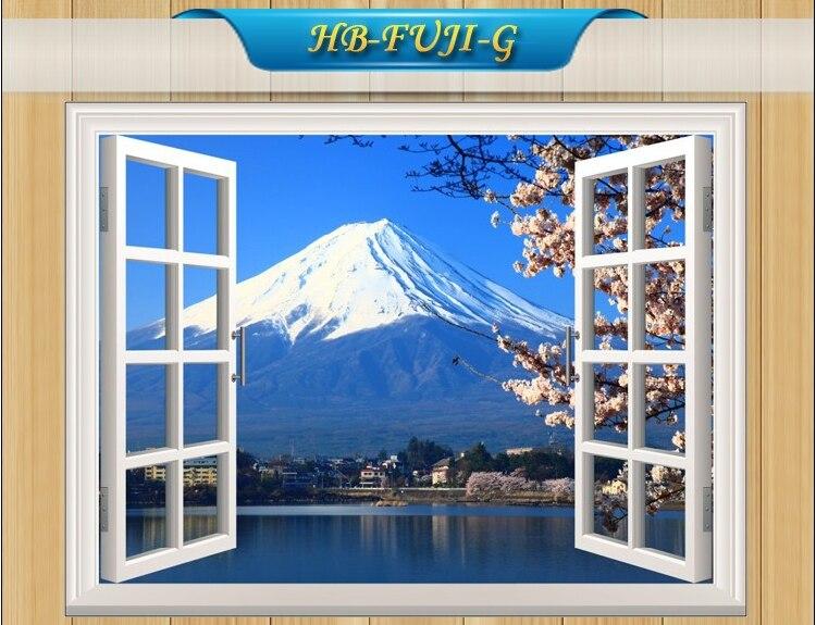 Aangepaste venster muurstickers landschap buiten nep ramen sticker 50 70cm bank achtergrond for Slaapkamer berg