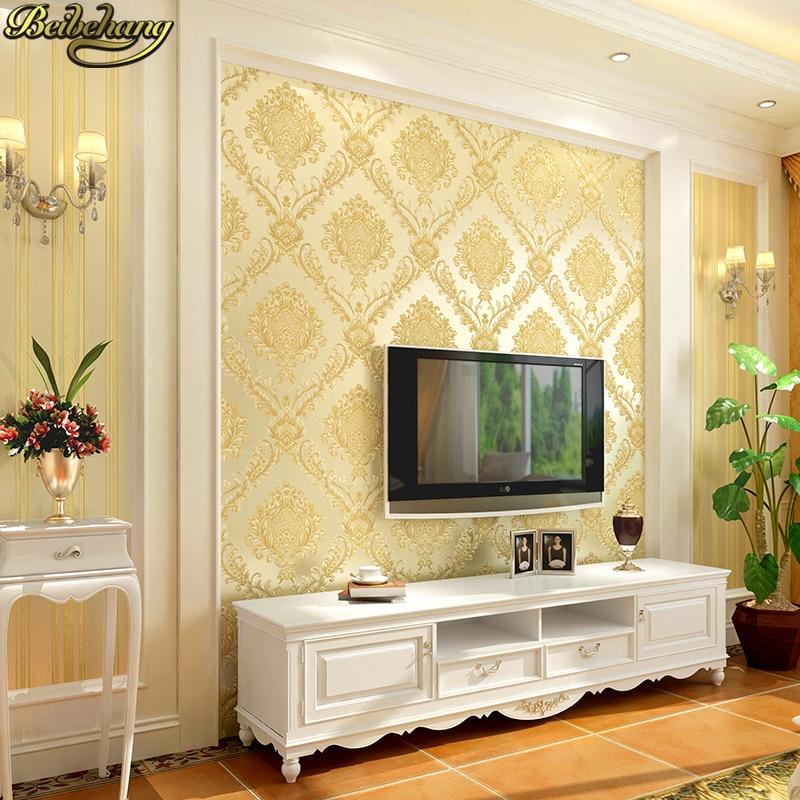 Beibehang Papel de parede Saupoudrer or peintures murales damassé mur rouleau de papier moderne murale papier peint pour les murs 3 d Décoration de La Maison papel