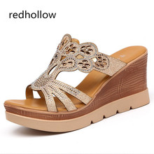 цены Women Platform Sandals Wedges Fish Mouth Sandals High Heels Female Crystal Fashion Shoes Rome Sandalia Feminina