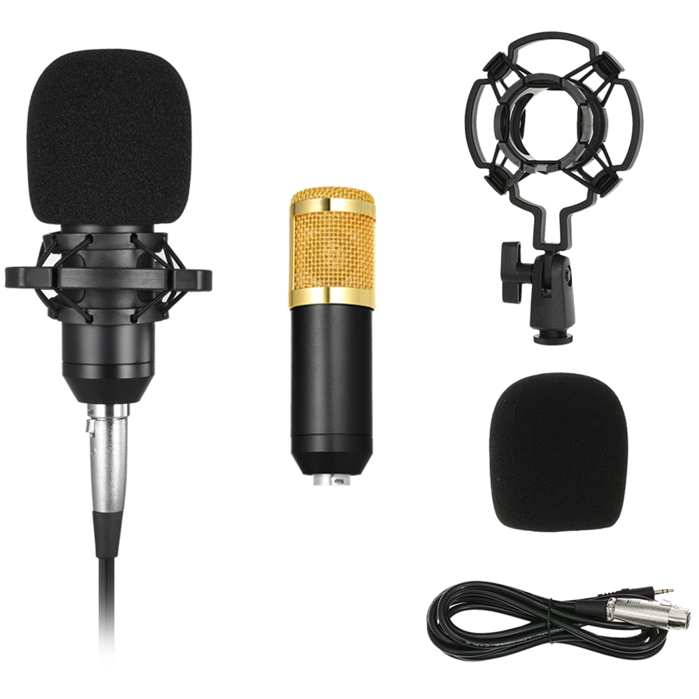 BM800 Condenser Microphone w/Shock 3.5mm Audio Cable Sponge Microphone Mount 5 Color Studio Sound Recording Broadcasting(China)