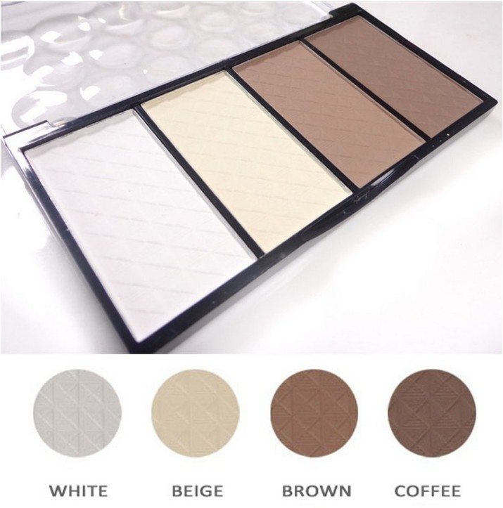 High Quality Makeup Professional 4 farver Matte Bronzer Highlighter Powder Contour Palette Cheek V Face Dekorer gratis forsendelse